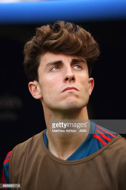 Alvaro Odriozola of Spain looks on prior to the during the 2018 FIFA World Cup Russia Round of 16 match between Spain and Russia at Luzhniki Stadium...
