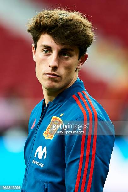 Alvaro Odriozola of Spain looks on prior to the international friendly match between Spain and Argentina at Wanda Metropolitano stadium on March 27...
