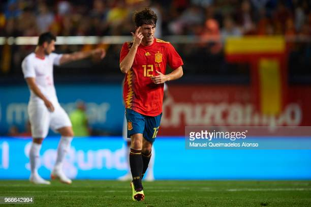 Alvaro Odriozola of Spain reacts after scoring his sides first goal during the International Friendly match between Spain and Switzerland at Estadio...