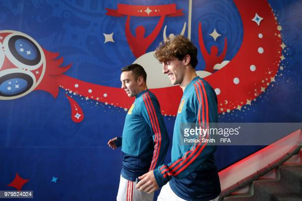 Alvaro Odriozola of Spain walks out for the line up prior to the 2018 FIFA World Cup Russia group B match between Iran and Spain at Kazan Arena on...