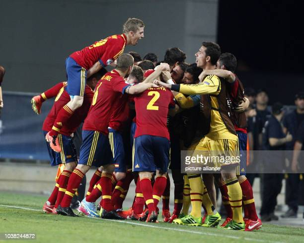Alvaro of Spain celebrates the goal during the UEFA European Under21 Championship Group B soccer match between Spain and Germany at the...