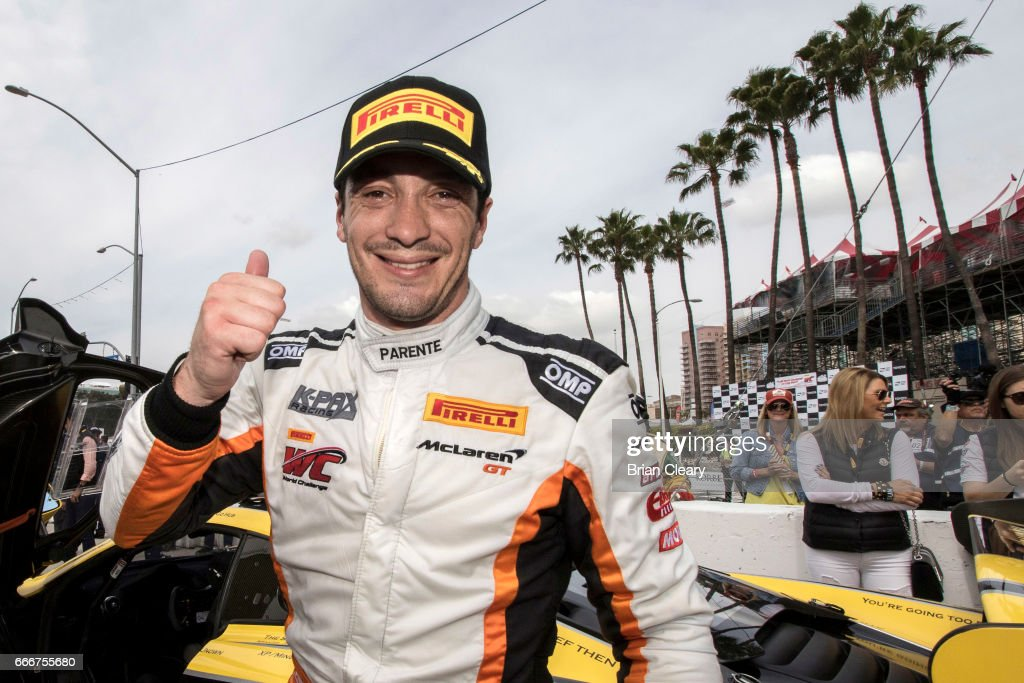 Alvaro Parente, of Portugal, celebrates after winning the Pirelli World Challenge GT race at the Grand Prix at Long Beach on April 9, 2017 in Long Beach, California.