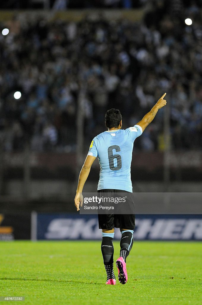 Alvaro Pereira of Uruguay celebrates after scoring the second goal of his team during a match between Uruguay and Chile as part of FIFA 2018 World Cup Qualifiers at Centenario Stadium on November 17, 2015 in Montevideo, Uruguay.