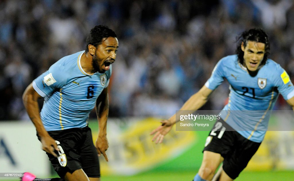 Alvaro Pereira of Uruguay celebrates after scoring the secong goal of his team during a match between Uruguay and Chile as part of FIFA 2018 World Cup Qualifiers at Centenario Stadium on November 17, 2015 in Montevideo, Uruguay.