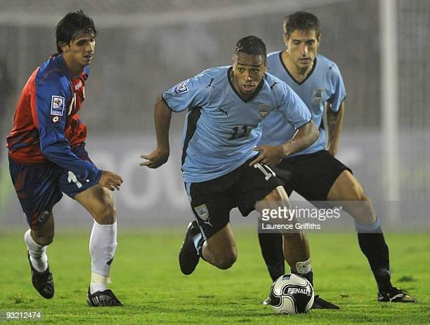 Alvaro Pereira of Uruguay in action duing the 2010 FIFA World Cup Play Off Second Leg Match between Uruguay and Costa Rica at The Estadio Centenario...