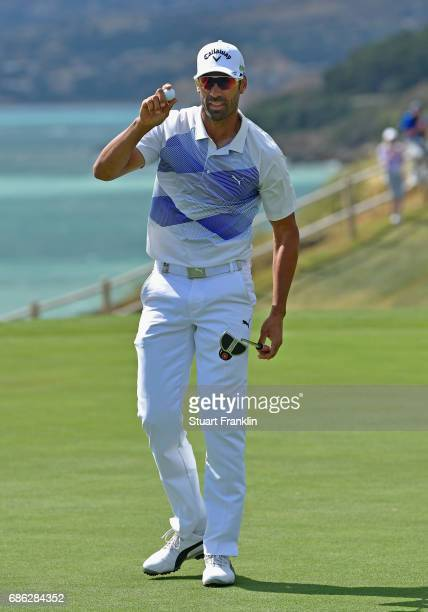 Alvaro Quiros of Spain celebrates a play off victory during the final round on day four of The Rocco Forte Open at Verdura Golf and Spa Resort on May...
