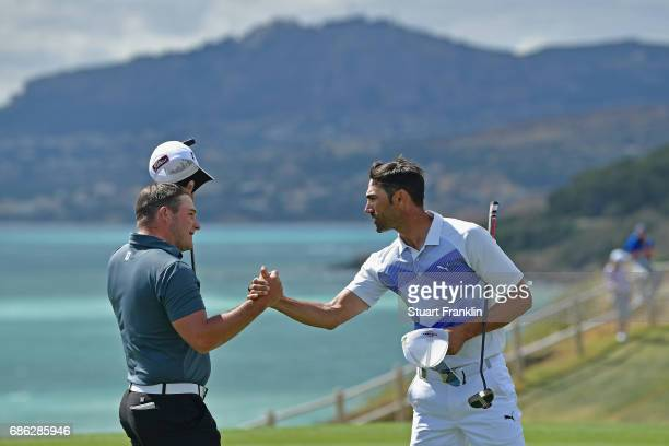 Alvaro Quiros of Spain celebrates a play off victory over Zander Lombard of South AfricZander Lombard olf South Africa during the final round on day...
