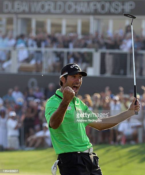 Alvaro Quiros of Spain celebrates after holing an eagle putt on the 18th green to win the Dubai World Championship on the Earth Course Jumeirah Golf...