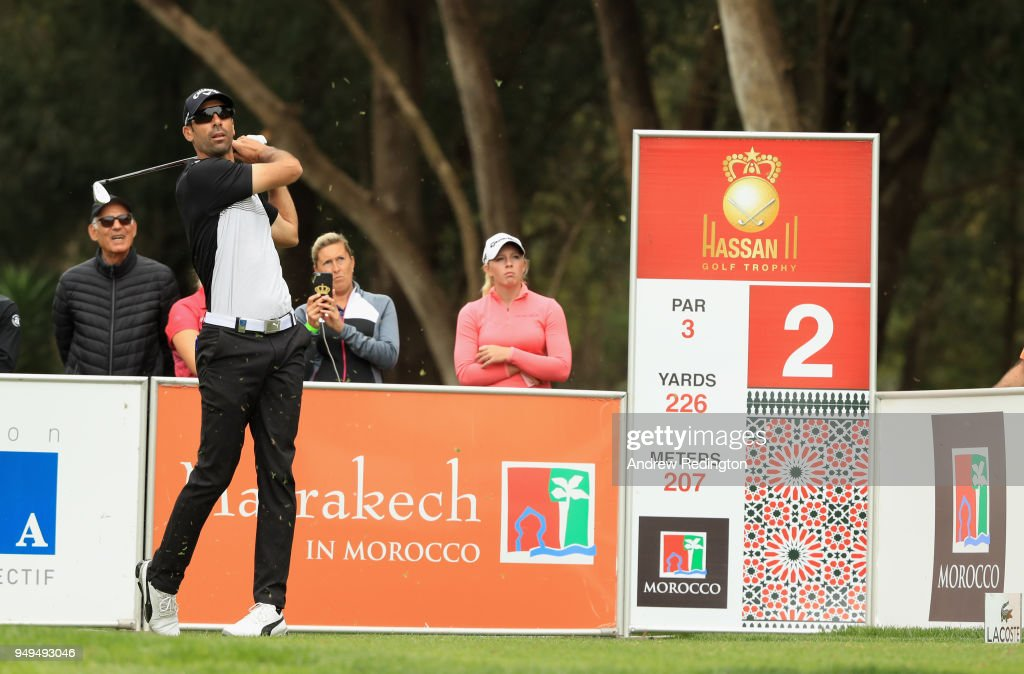 Alvaro Quiros of Spain hits his tee-shot on the second hole during the third round of the Trophee Hassan II at Royal Golf Dar Es Salam on April 21, 2018 in Rabat, Morocco.