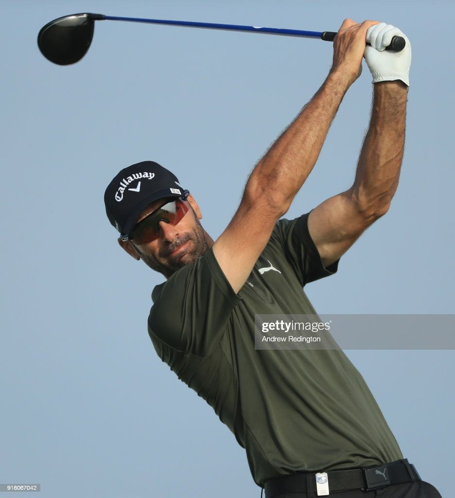 Alvaro Quiros of Spain in action during the Pro Am prior to the start of the NBO Oman Open at Al Mouj Golf on February 14, 2018 in Muscat, Oman.