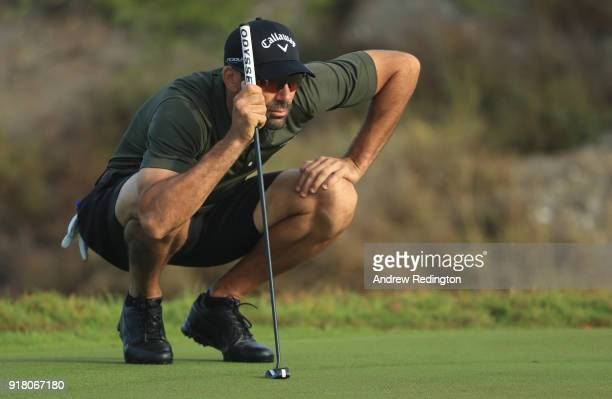 Alvaro Quiros of Spain in action during the Pro Am prior to the start of the NBO Oman Open at Al Mouj Golf on February 14 2018 in Muscat Oman