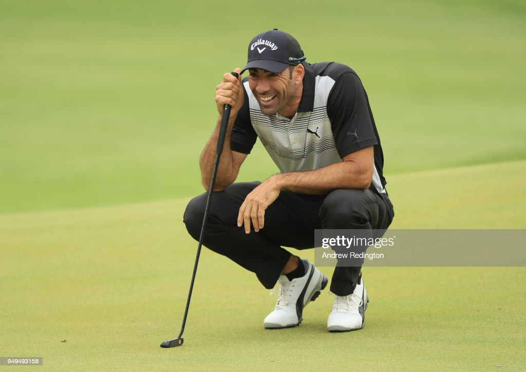 Alvaro Quiros of Spain lines up a putt on the first hole during the third round of the Trophee Hassan II at Royal Golf Dar Es Salam on April 21, 2018 in Rabat, Morocco.