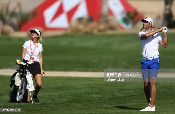 Alvaro Quiros of Spain plays a shot during practice ahead of the Abu Dhabi HSBC Championship at Abu Dhabi Golf Club on January 19, 2021 in Abu Dhabi,...
