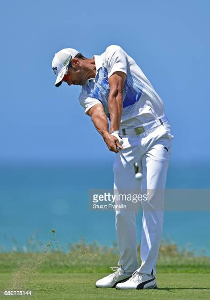 Alvaro Quiros of Spain plays a shot during the final round of The Rocco Forte Open at The Verdura Golf and Spa Resort on May 21 2017 in Sciacca Italy