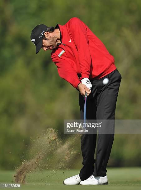 Alvaro Quiros of Spain plays a shot during the second round of the UBS Hong Kong Open at The Hong Kong Golf Club on December 2 2011 in Hong Kong Hong...