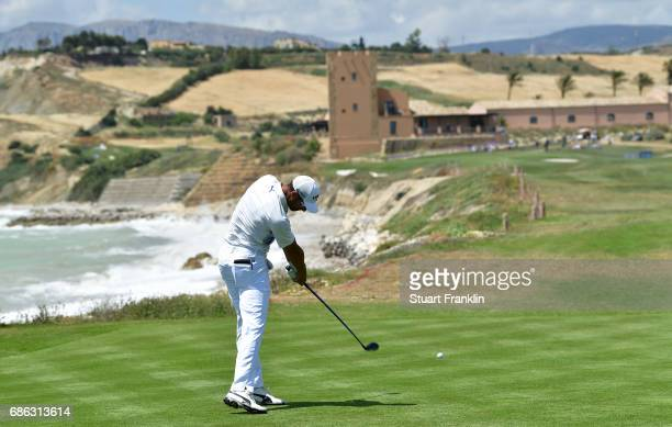 Alvaro Quiros of Spain plays a shot on the 16th hole during the final round of The Rocco Forte Open at The Verdura Golf and Spa Resort on May 21 2017...