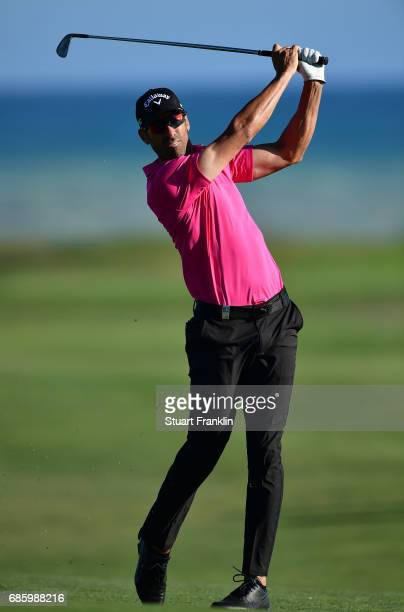 Alvaro Quiros of Spain plays a shot on the 16th hole during the third round of The Rocco Forte Open at The Verdura Golf and Spa Resort on May 20 2017...