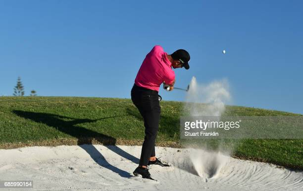 Alvaro Quiros of Spain plays a shot on the 18th hole during the third round of The Rocco Forte Open at The Verdura Golf and Spa Resort on May 20 2017...