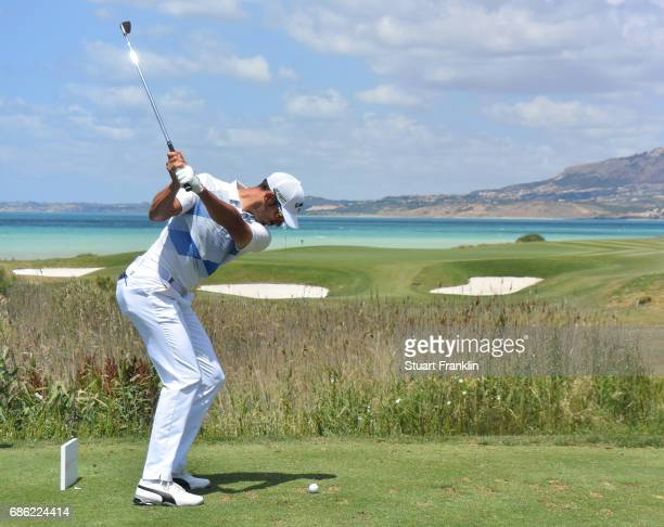 Alvaro Quiros of Spain plays a shot on the seventh hole during the final round of The Rocco Forte Open at The Verdura Golf and Spa Resort on May 21...
