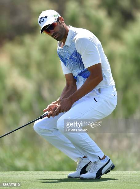 Alvaro Quiros of Spain reacts to a putt on the seventh hole during the final round of The Rocco Forte Open at The Verdura Golf and Spa Resort on May...