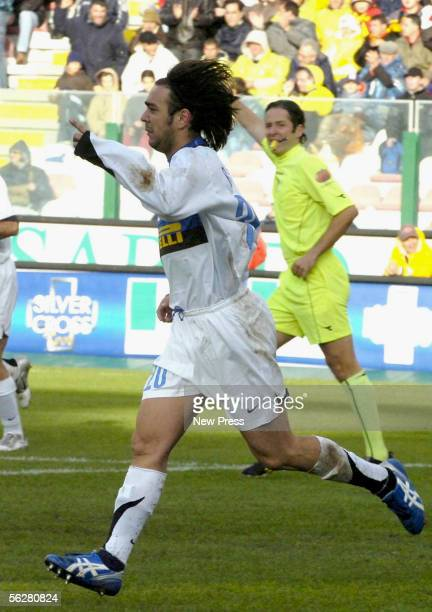 Alvaro Recoba celebrates after scoring during the Serie A match between Messina and Inter Milan at the Stadio San Filippo on November 27 2005 in...