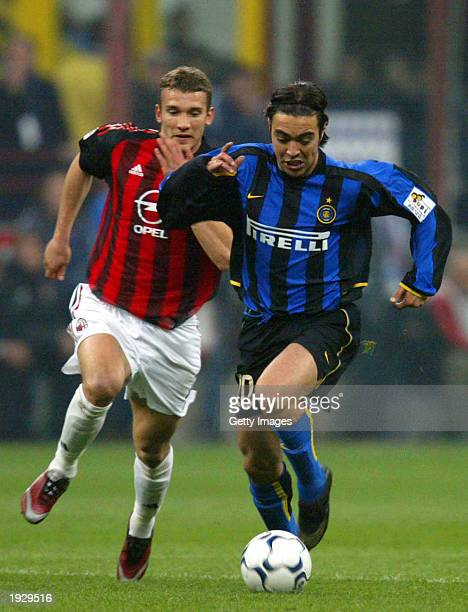 Alvaro Recoba of Inter Milan and Andriy Shevchenko of AC Milan in action during the Serie A match between Inter Milan and AC Milan, played at the...