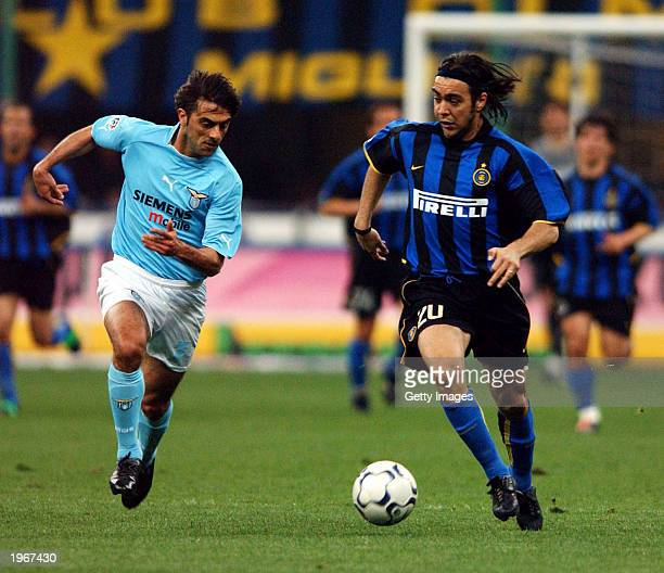 Alvaro Recoba of Inter Milan and Claudio Lopez of Lazio in action during the Serie A match between Inter Milan and Lazio, played at the Giuseppe...
