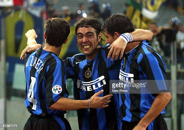 Alvaro Recoba of Inter Milan celebrates a goal during the Serie A match between Roma and Inter Milan on October 3 2004 in Rome Italy