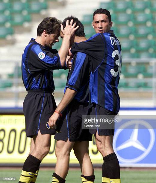 Alvaro Recoba of Inter Milan celebrates after scoring with team mates Michele Serena and Bruno Cirillo during the Serie A 33rd Round League match...