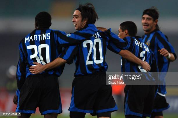 Alvaro Recoba of Inter Milan celebrates scoring his side's second goal with his team mates during the Serie A match between Chievo Verona and Inter...