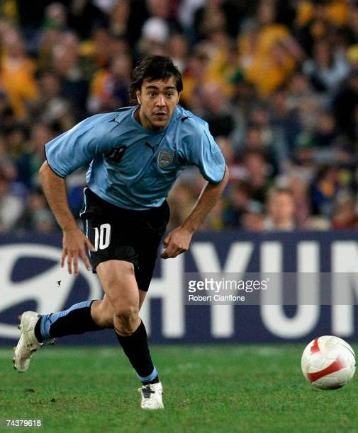 Alvaro Recoba of Uruguay in action during the International Friendly match between Australia and Uruguay at Telstra Stadium on June 2, 2007 in...