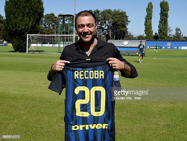 Alvaro Recoba poses for a photo during the FC Internazionale training session at the club's training ground at Appiano Gentile on August 22, 2016 in...