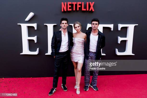 Alvaro Rico Ester Exposito and Itzan Escamilla attend Elite 2nd Season Premiere at Callao Cinema on August 29 2019 in Madrid Spain