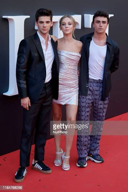 Alvaro Rico Ester Exposito and Itzan Escamilla attends the Netflix 'Elite' season 2 premiere at Callao Cinema in Madrid Spain on Aug 29 2019