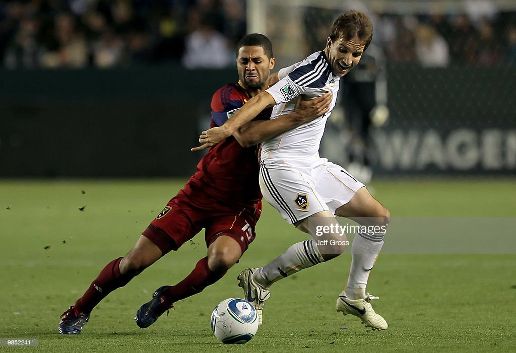 Alvaro Saborio #15 of Real Salt Lake and Mike Magee #18 of the Los Angeles Galaxy battle for the ball in the second half at the Home Depot Center on April 17, 2010 in Carson, California. The Galaxy defeated Real Salt Lake 2-1.