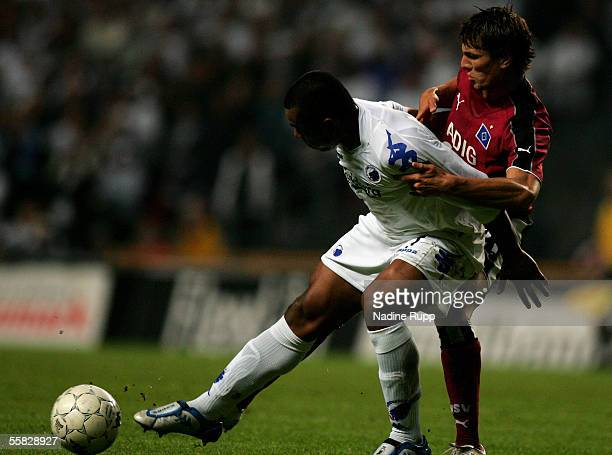 Alvaro Santos of Copenhagen competes with Khalid Boulahrouzduring of HSV during the UEFA Cup first round second leg match between FC Copenhagen and...