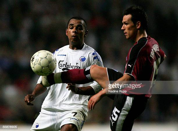 Alvaro Santos of Copenhagen competes with Piotr Trochowski of HSV during the UEFA Cup first round second leg match between FC Copenhagen and...