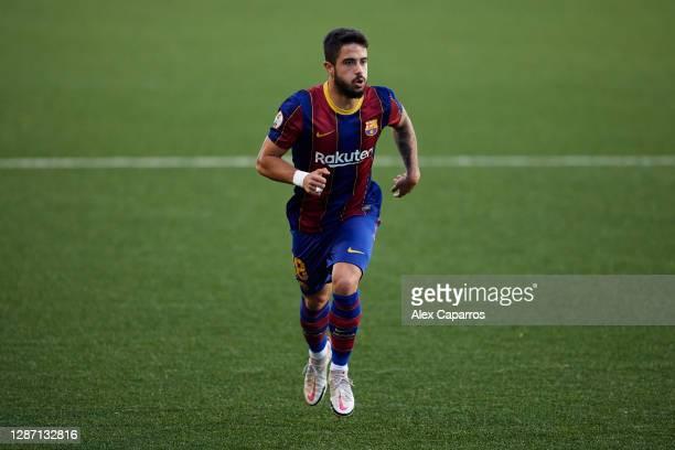 Alvaro Sanz of FC Barcelona B runs during the Segunda Division B Group IIIA match between CE L'Hospitalet and FC Barcelona B at Estadi Municipal de...