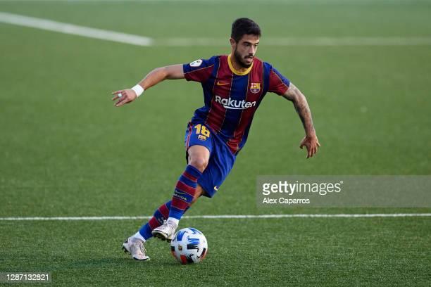Alvaro Sanz of FC Barcelona B runs with the ball during the Segunda Division B Group IIIA match between CE L'Hospitalet and FC Barcelona B at Estadi...