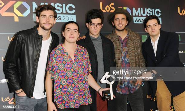 Alvaro Soler and the music band Morat attend '40 Principales Awards' 2017 on November 10 2017 in Madrid Spain