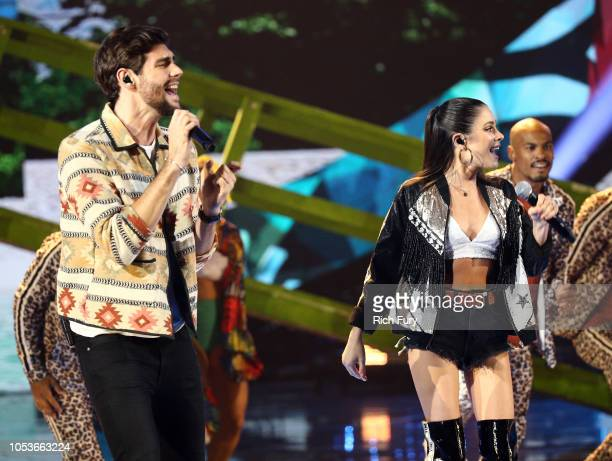 Alvaro Soler and Tini Stoessel perform onstage during the 2018 Latin American Music Awards at Dolby Theatre on October 25 2018 in Hollywood California
