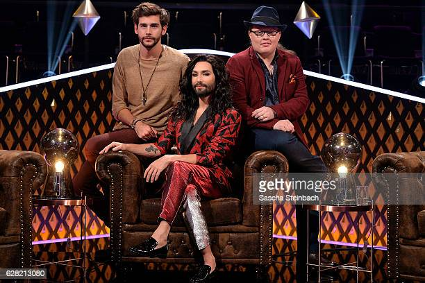 Alvaro Soler Thomas Neuwirth alias Conchita Wurst and Angelo Kelly attend the RTL TV Show 'It Takes 2' on November 8 2016 in Cologne Germany