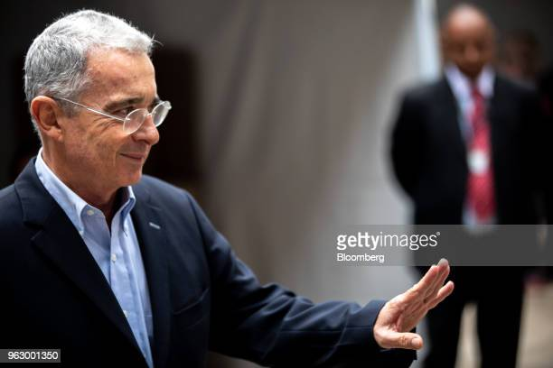 Alvaro Uribe former president of Colombia arrives to cast his ballot at the National Congress during presidential elections in Bogota Colombia on...