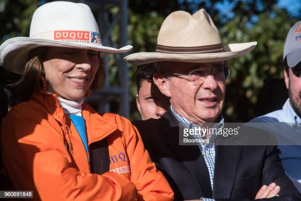 Alvaro Uribe former president of Colombia right attends the closing campaign rally of Ivan Duque presidential candidate for the Democratic Center...
