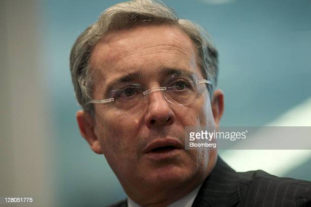 Alvaro Uribe former president of Colombia speaks during an interview in New York US on Wednesday Oct 5 2011 Uribe who served as president of Colombia...