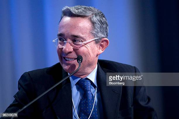Alvaro Uribe president of Colombia takes part in an interactive session on day two of the 2010 World Economic Forum annual meeting in Davos...