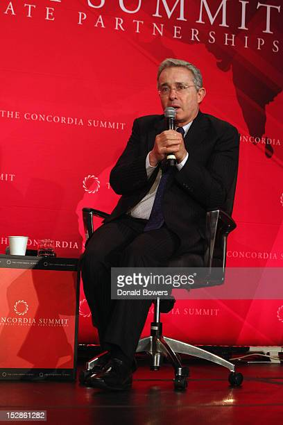 Alvaro Uribe speaks during The 2nd Annual Concordia Summit at The Plaza Hotel on September 27 2012 in New York City