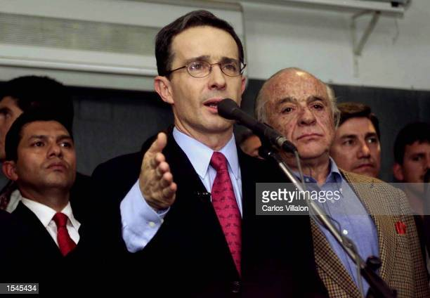 Alvaro Uribe Velez addresses supporters at the Dan Carlton hotel after his election as president with 53 percent of the vote May 26 2002 in Bogota...