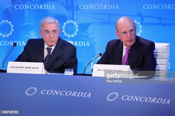 E Alvaro Uribe Velez Former President Colombia and former Senator George Mitchell Chairman Emeritus DLA Piper speak at The 2017 Concordia Annual...