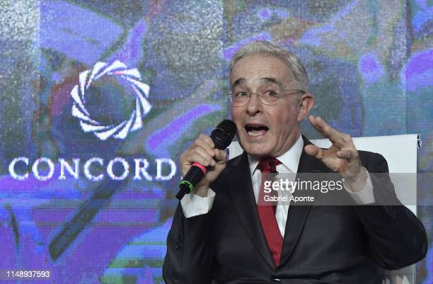 Alvaro Uribe Velez ​Former President of Colombia attends the panel 'Unveiling Populism in Latin America Lessons for Democracyt' during the afternoon...